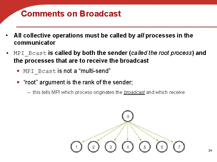 Comments on Broadcast • All collective operations must be called by all processes in