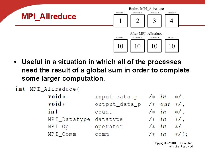 MPI_Allreduce • Useful in a situation in which all of the processes need the