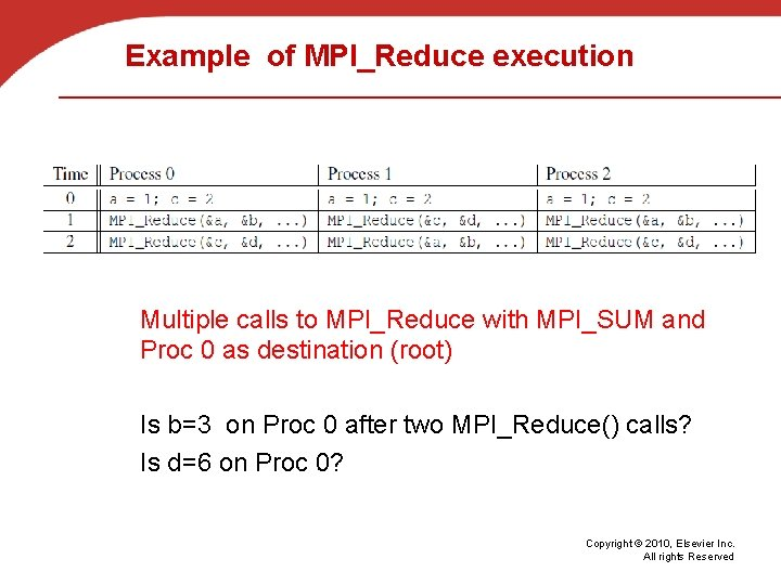 Example of MPI_Reduce execution Multiple calls to MPI_Reduce with MPI_SUM and Proc 0 as