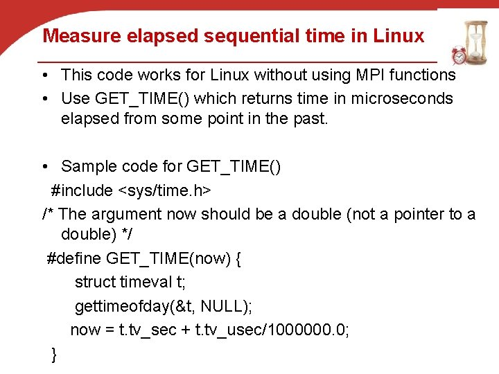 Measure elapsed sequential time in Linux • This code works for Linux without using