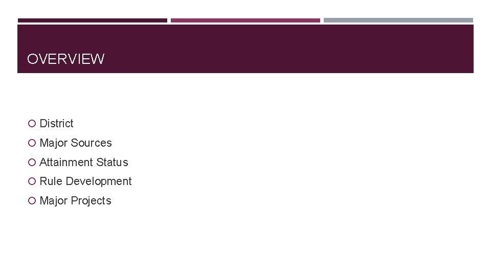 OVERVIEW District Major Sources Attainment Status Rule Development Major Projects