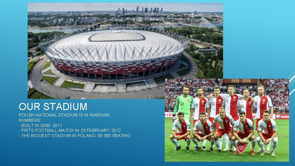 OUR STADIUM POLISH NATIONAL STADIUM IS IN WARSAW. NUMBERS: - BUILT IN 2008 -