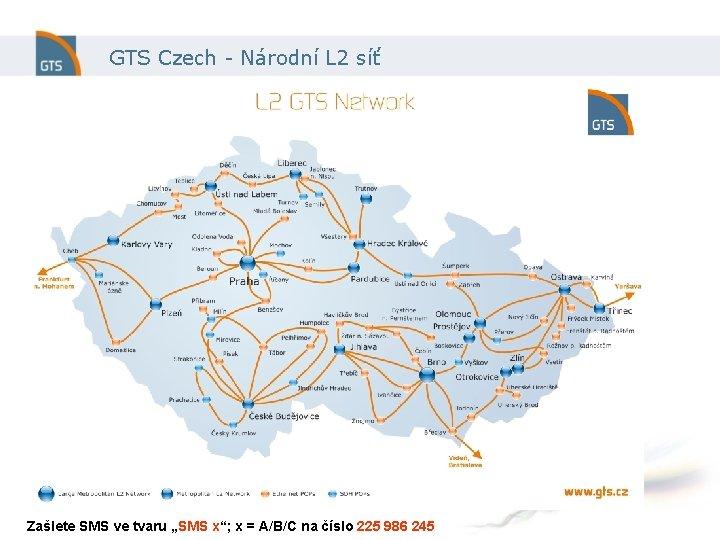 """GTS Czech - Národní L 2 síť Zašlete SMS ve tvaru """"SMS x""""; x"""