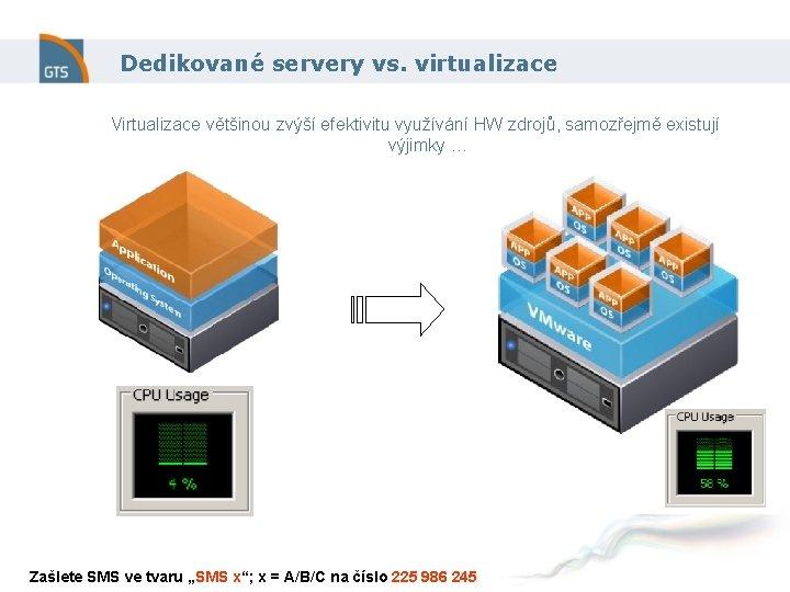 Dedikované servery vs. virtualizace Virtualizace většinou zvýší efektivitu využívání HW zdrojů, samozřejmě existují výjimky