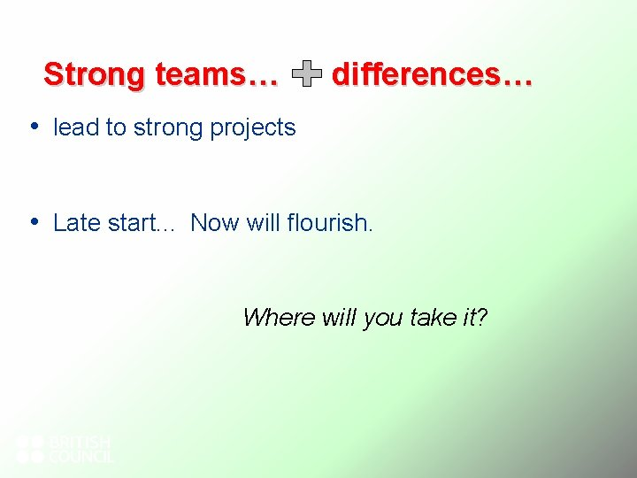 Strong teams… differences… • lead to strong projects • Late start. . . Now