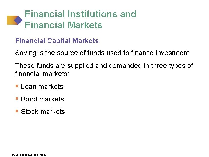 Financial Institutions and Financial Markets Financial Capital Markets Saving is the source of funds