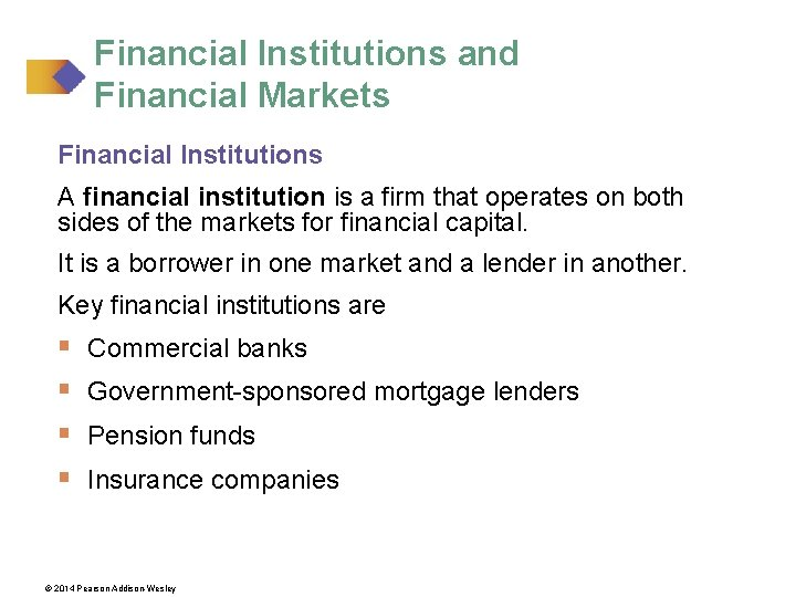 Financial Institutions and Financial Markets Financial Institutions A financial institution is a firm that