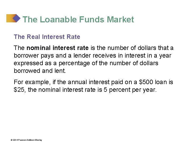 The Loanable Funds Market The Real Interest Rate The nominal interest rate is the