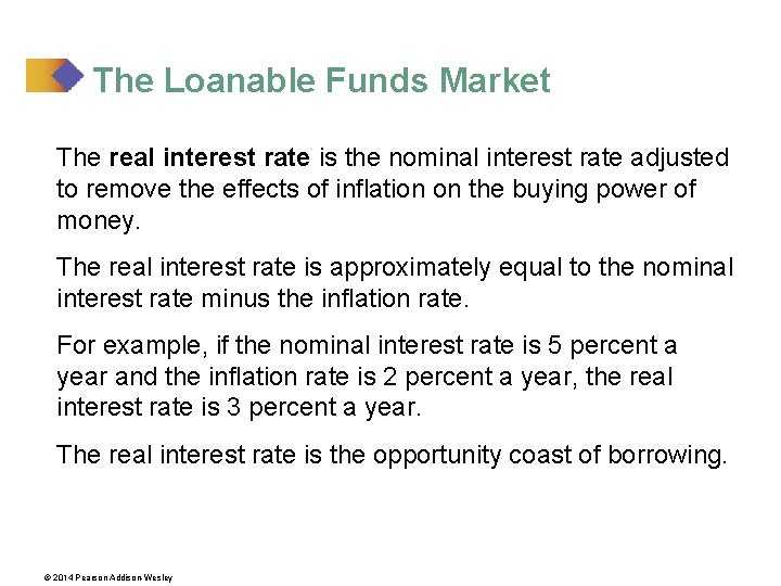 The Loanable Funds Market The real interest rate is the nominal interest rate adjusted