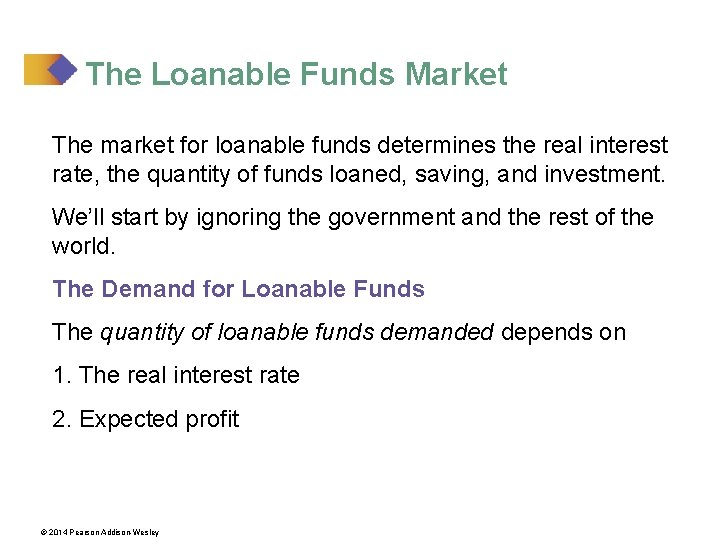 The Loanable Funds Market The market for loanable funds determines the real interest rate,