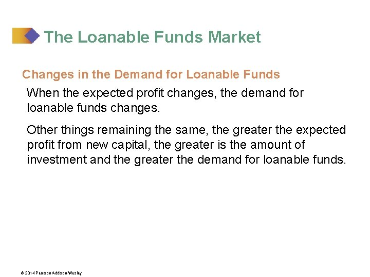 The Loanable Funds Market Changes in the Demand for Loanable Funds When the expected