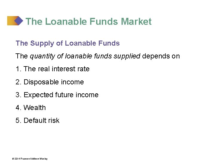 The Loanable Funds Market The Supply of Loanable Funds The quantity of loanable funds