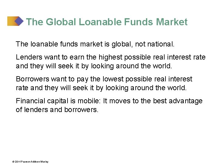 The Global Loanable Funds Market The loanable funds market is global, not national. Lenders
