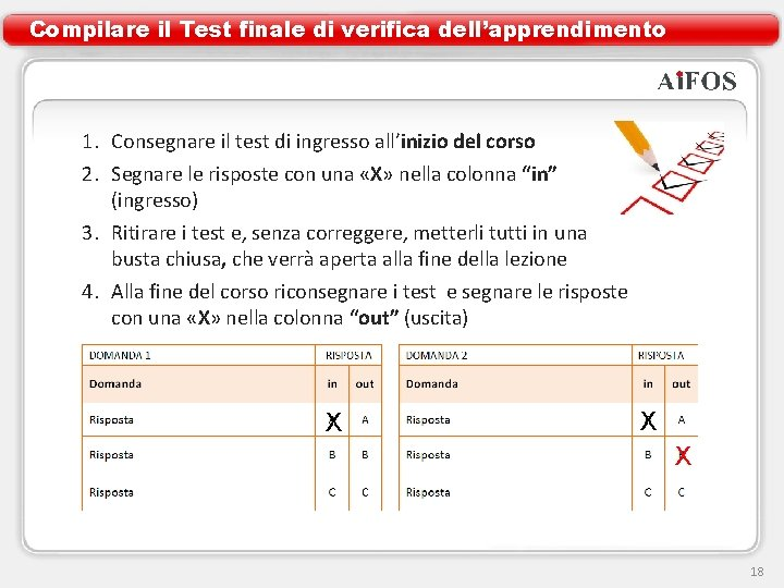 Compilare il Test finale di verifica dell'apprendimento 1. Consegnare il test di ingresso all'inizio