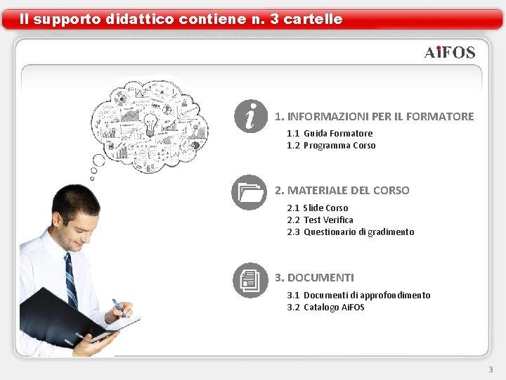 Il supporto didattico contiene n. 3 cartelle 1. INFORMAZIONI PER IL FORMATORE 1. 1