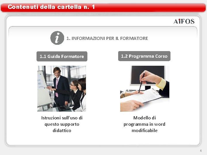 Contenuti della cartella n. 1 1. INFORMAZIONI PER IL FORMATORE 1. 1 Guida Formatore