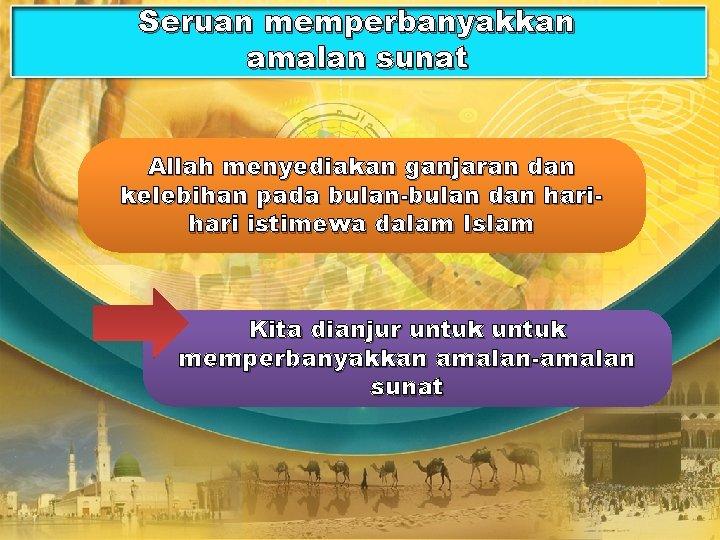 Seruan memperbanyakkan amalan sunat Allah menyediakan ganjaran dan kelebihan pada bulan-bulan dan hari istimewa