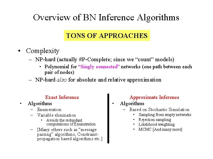 Overview of BN Inference Algorithms TONS OF APPROACHES • Complexity – NP-hard (actually #P-Complete;