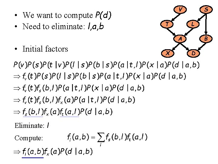 • We want to compute P(d) • Need to eliminate: l, a, b