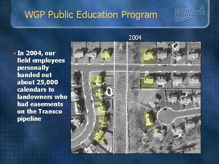 WGP Public Education Program 2004 • In 2004, our field employees personally handed out