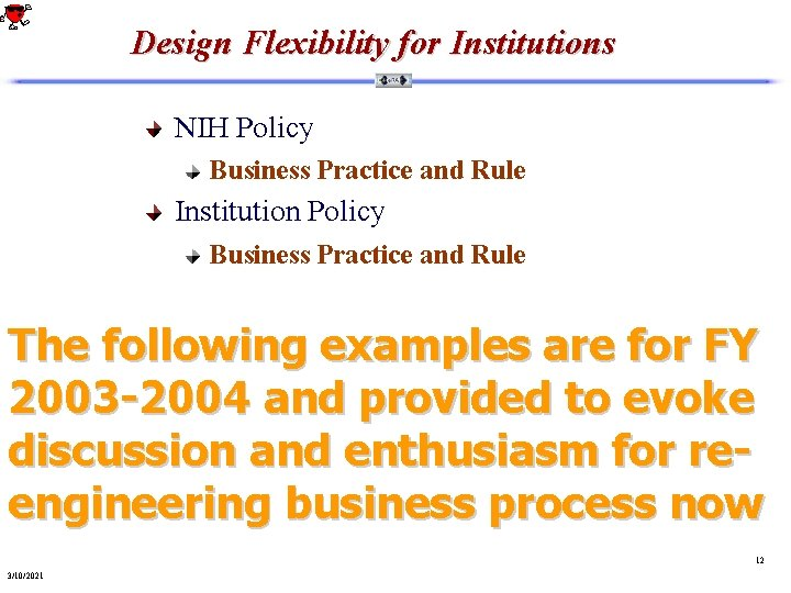 Design Flexibility for Institutions NIH Policy Business Practice and Rule Institution Policy Business Practice