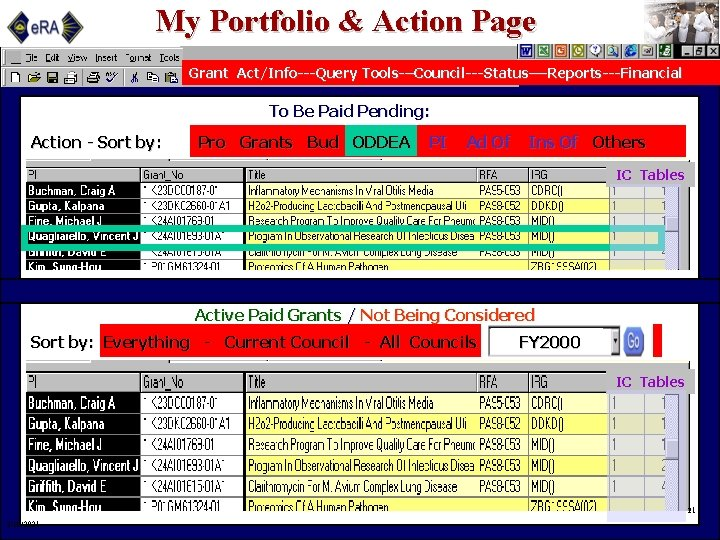 My Portfolio & Action Page Grant Act/Info---Query Tools-–Council---Status—-Reports---Financial To Be Paid Pending: Action -