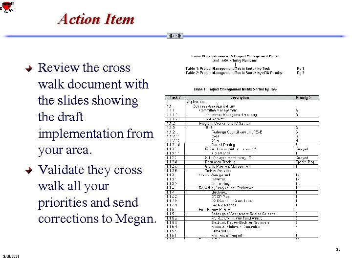 Action Item Review the cross walk document with the slides showing the draft implementation