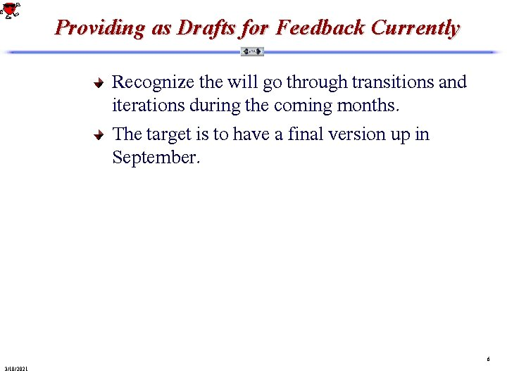 Providing as Drafts for Feedback Currently Recognize the will go through transitions and iterations