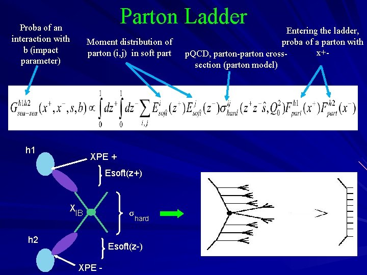 Parton Ladder Proba of an interaction with b (impact parameter) Moment distribution of parton