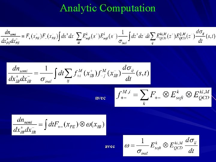 Analytic Computation avec