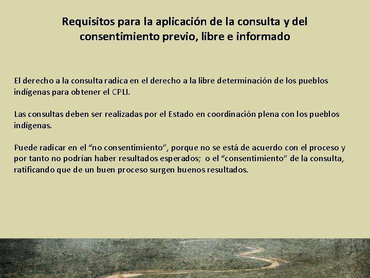 Requisitos para la aplicación de la consulta y del consentimiento previo, libre e informado