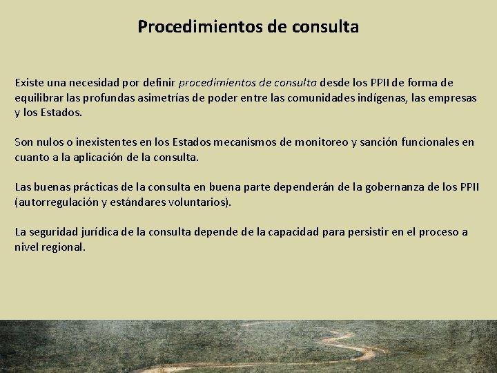 Procedimientos de consulta Existe una necesidad por definir procedimientos de consulta desde los PPII