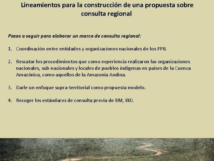 Lineamientos para la construcción de una propuesta sobre consulta regional Pasos a seguir para