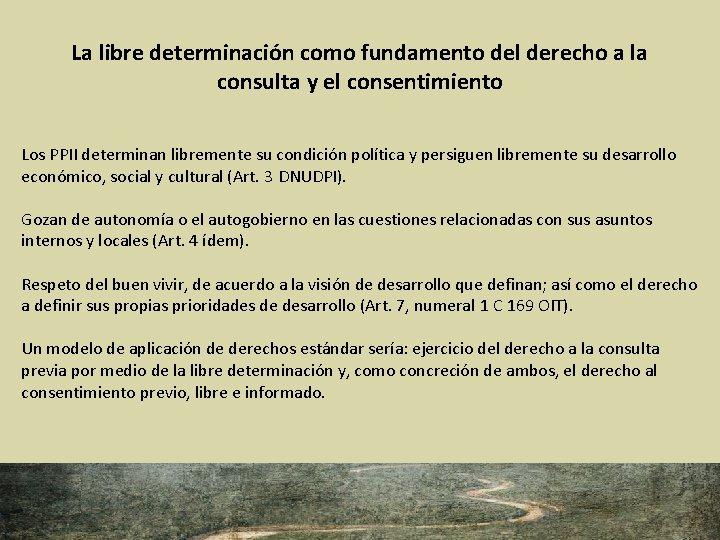 La libre determinación como fundamento del derecho a la consulta y el consentimiento Los