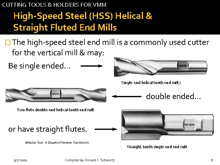 CUTTING TOOLS & HOLDERS FOR VMM High-Speed Steel (HSS) Helical & Straight Fluted End