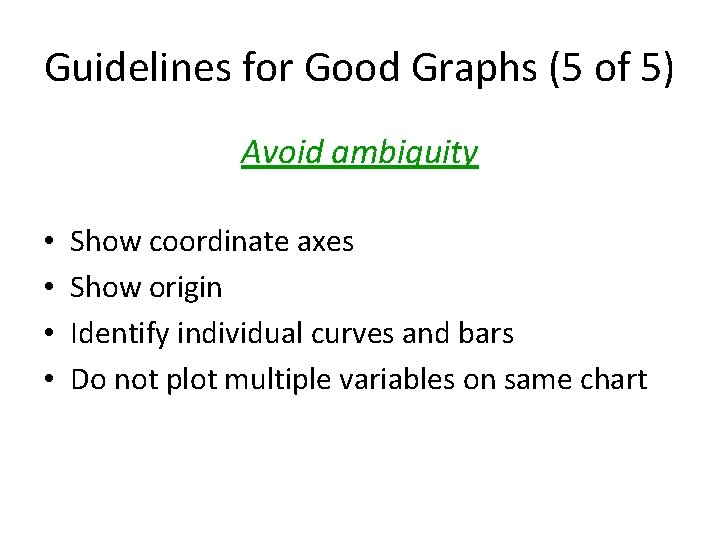 Guidelines for Good Graphs (5 of 5) Avoid ambiguity • • Show coordinate axes