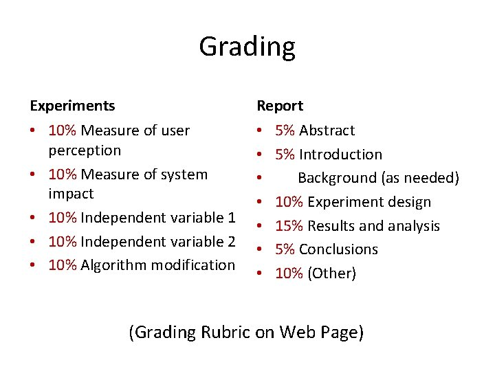 Grading Experiments Report • 10% Measure of user perception • 10% Measure of system