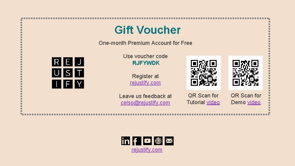 Gift Voucher One-month Premium Account for Free Use voucher code RJFYWDK Register at rejustify.