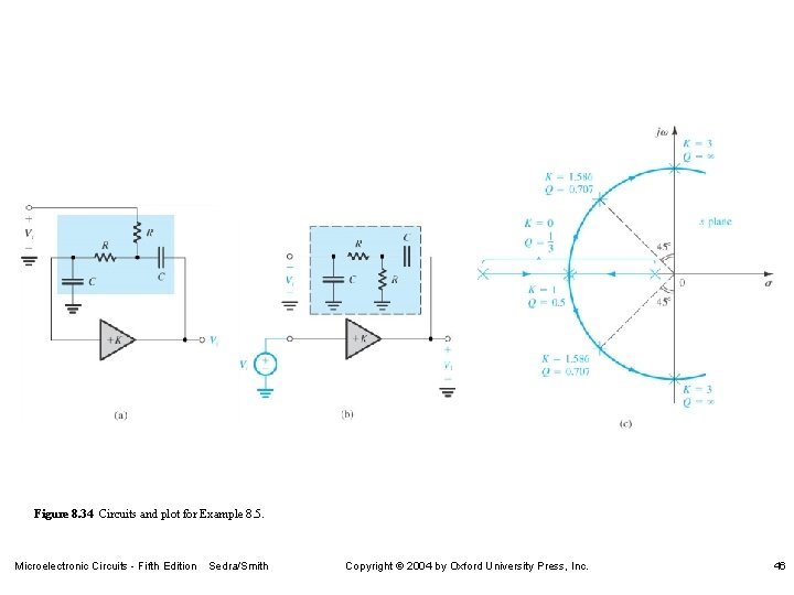 Figure 8. 34 Circuits and plot for Example 8. 5. Microelectronic Circuits - Fifth