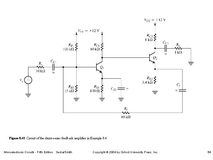 Figure 8. 41 Circuit of the shunt–series feedback amplifier in Example 8. 4. Microelectronic