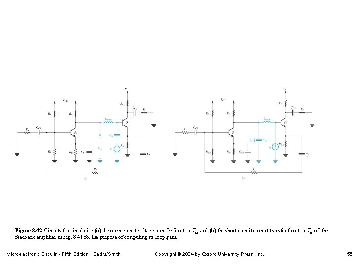Figure 8. 42 Circuits for simulating (a) the open-circuit voltage transfer function Toc and