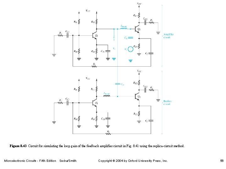 Figure 8. 43 Circuit for simulating the loop gain of the feedback amplifier circuit