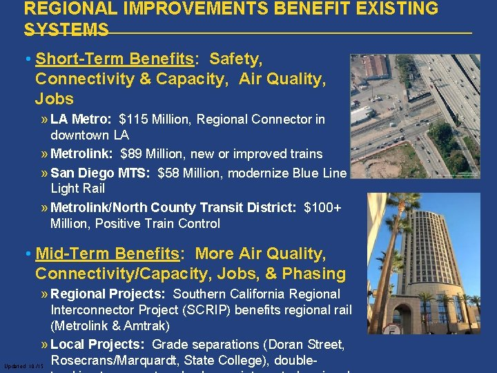 REGIONAL IMPROVEMENTS BENEFIT EXISTING SYSTEMS • Short-Term Benefits: Safety, Connectivity & Capacity, Air Quality,