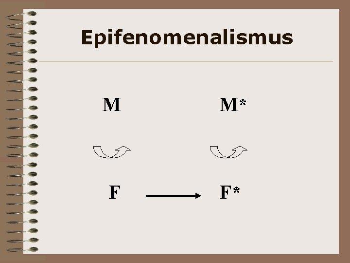 Epifenomenalismus M M* F F*