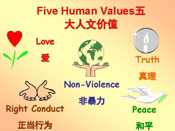 Five Human Values五 大人文价值 Love Truth 爱 Non-Violence Right Conduct 正当行为 非暴力 真理 Peace