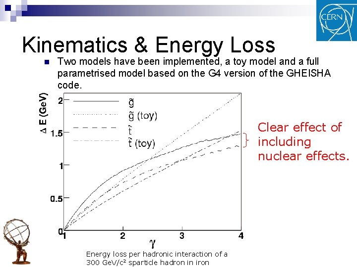 Kinematics & Energy Loss n Two models have been implemented, a toy model and