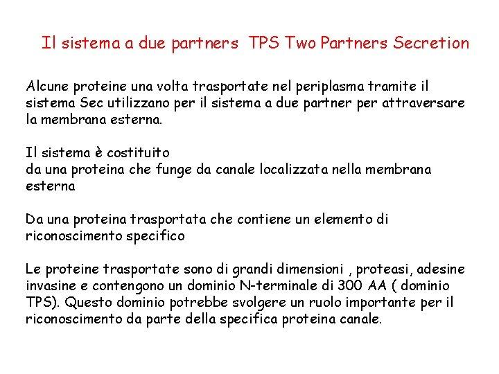 Il sistema a due partners TPS Two Partners Secretion Alcune proteine una volta trasportate