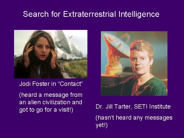 """Search for Extraterrestrial Intelligence Jodi Foster in """"Contact"""" (heard a message from an alien"""