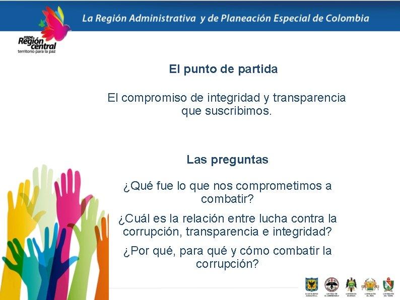 El punto de partida El compromiso de integridad y transparencia que suscribimos. Las preguntas