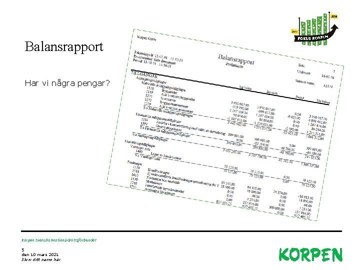 Balansrapport Har vi några pengar? Korpen Svenska Motionsidrottsförbundet 5 den 10 mars 2021 Skriv